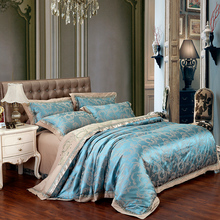 2018 Paisley Blue Tan Bedding Set Silk Cotton Blend Duvet Cover Jacquard Queen King Bedlinens Sheet Pillowcases