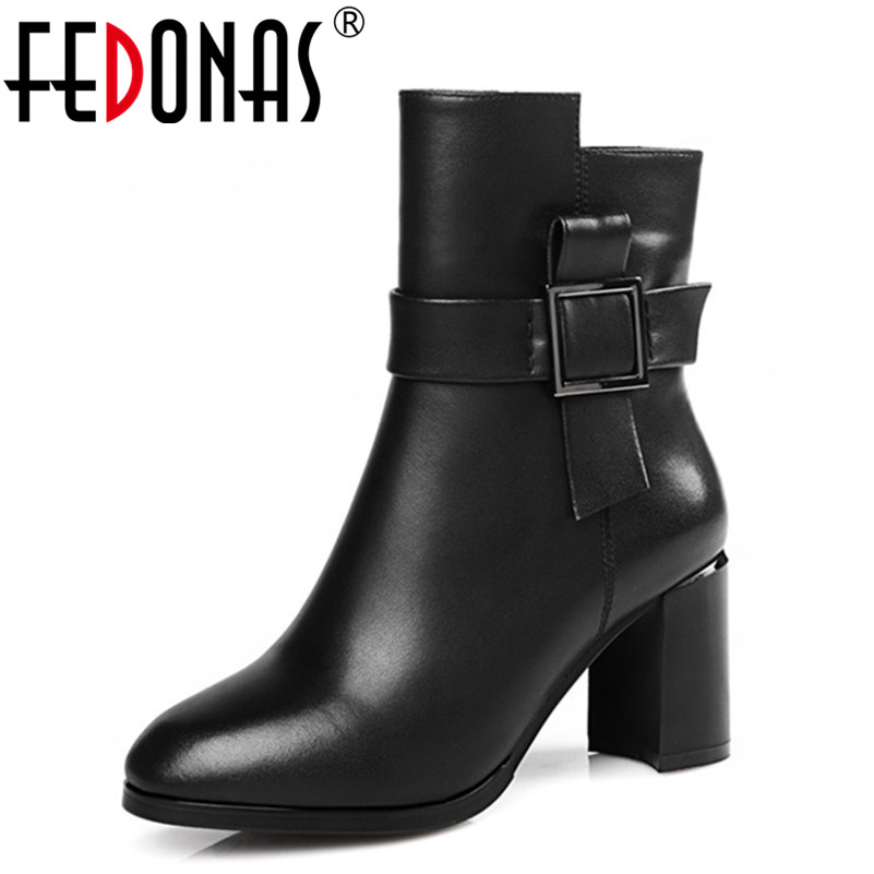 FEDONAS High Quality Brand Women Autumn Winter Warm High Heel Buckles Ankle Snow Boots Genuine Leather Shoes Woman Sexy Boots snow boots free delivery of autumn and winter high quality 100