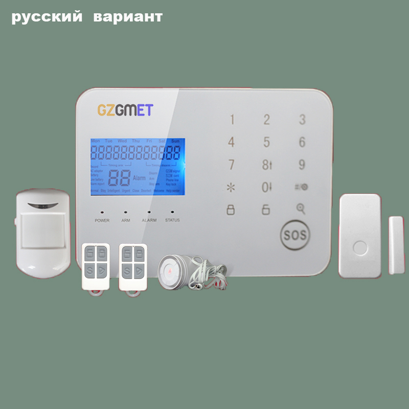 GZGMET Russia Android IOS Smart Phone App Alarm for House 99 Wireless Zones TOUCH Keypad Home Security GSM Alarm System yobang security english russian voice home alarm app gsm alarm system 99 wireless zones wireless wired house alarm smart home
