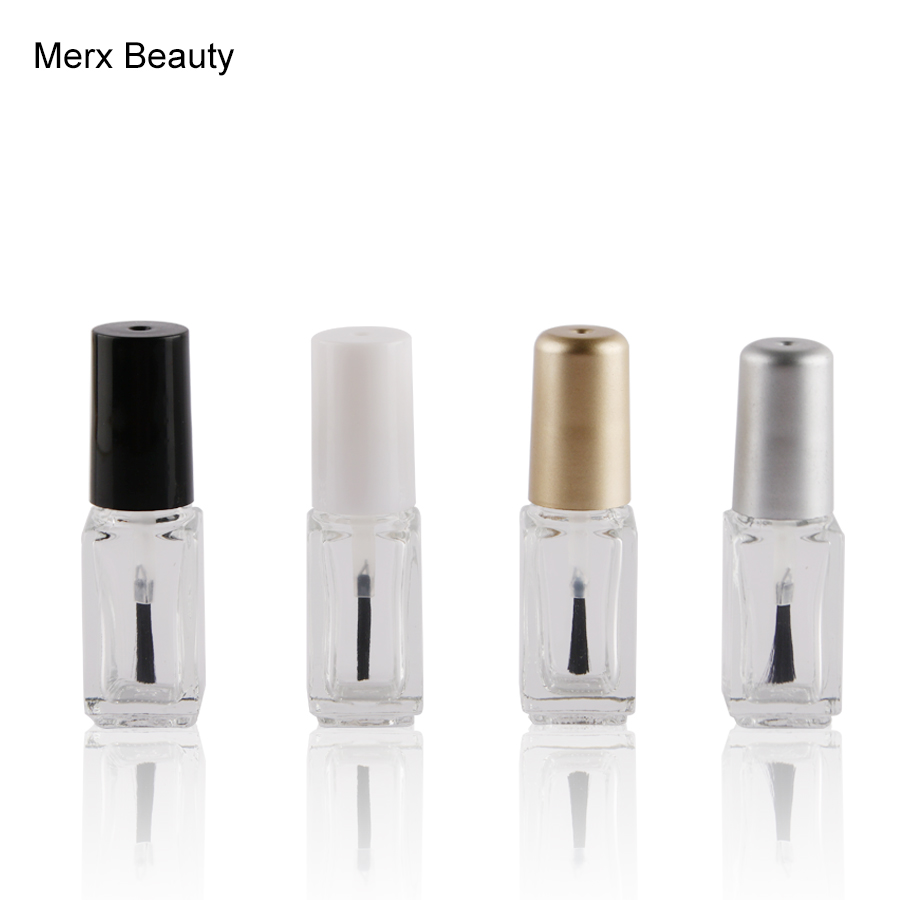 100pcs lot 4ml 5ml Empty Nail Polish Bottle With Brush Clear Nail Polish Container Glass Bottle