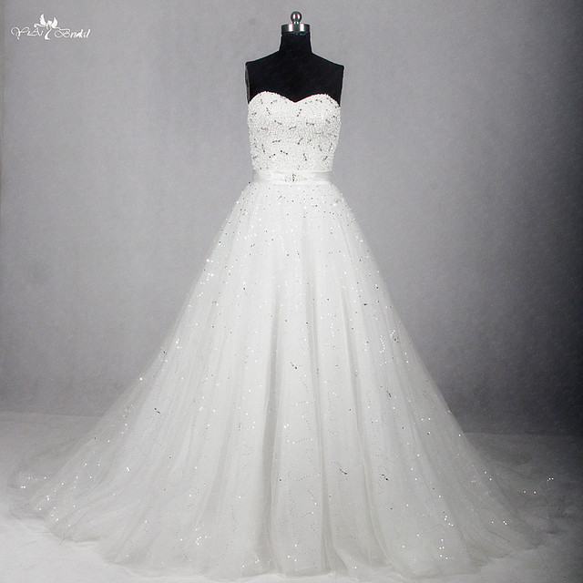 RSW1154 Sweetheart Neckline A Line Bling Ball Gown Wedding Dress ...