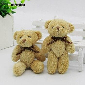 50PCS/LOT Kawaii Small Joint Teddy Bears Stuffed Plush With Bow Tie 8CM Toy Teddy-Bear Bear Ted Bears Plush Toys Wedding 0302