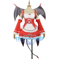 Re:Zero/Re:Life in a Different World from Zero Ram Cosplay Costume Adult Women Red Dress Maid Mini Skirt Gift PU Devil Wings