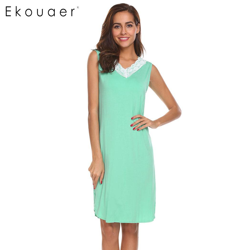 Ekouaer Sleepwear Women Lace Patchwork V-Neck Sleeveless Curved Hem Loose Nightgowns