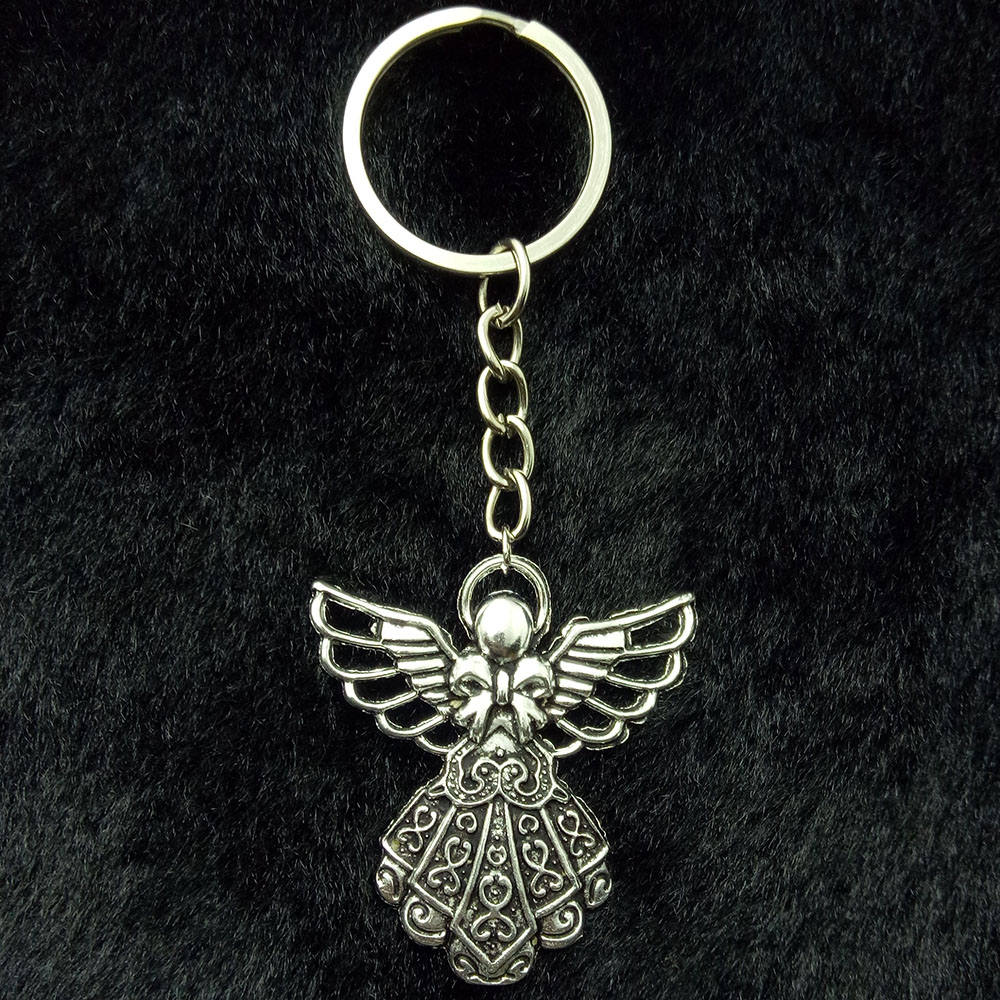 Fashion 41*38mm Key Ring Metal Key Chain Keychain Jewelry Antique Silver Plated Guardian Angel Pendant Key Chains