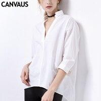 CANVAUS Summer Women New Cotton White Slim Straight Pullover Office Lady V neck Three Quarter Sleeve Blouse Shirt Tops CS8039D
