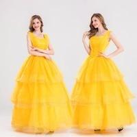 S-XXL Princesa Belle Halloween Cosplay Traje de A Bela Ea Fera Traje Adulto Vestido Da Menina de Partido Do Carnaval Do Traje Extravagante
