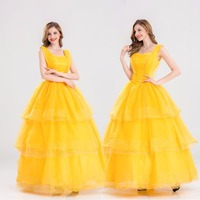 S XXL Princess Belle Halloween Cosplay Costume Beauty And The Beast Costume Adult Girl Dress Party