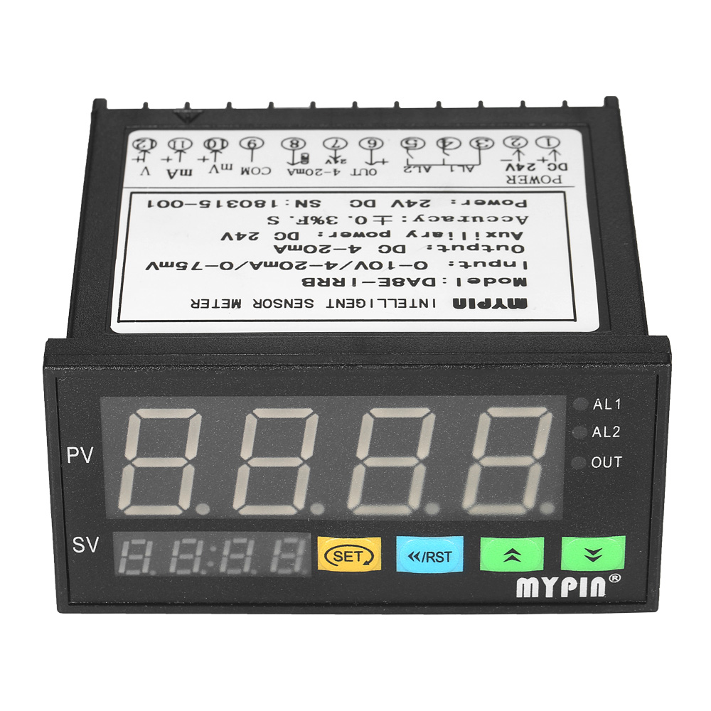Multi-functional DC 24V digital programmable sensor meter with 2 Relay Alarm Output and 0~10V/4~20mA/0~75mV InputMulti-functional DC 24V digital programmable sensor meter with 2 Relay Alarm Output and 0~10V/4~20mA/0~75mV Input