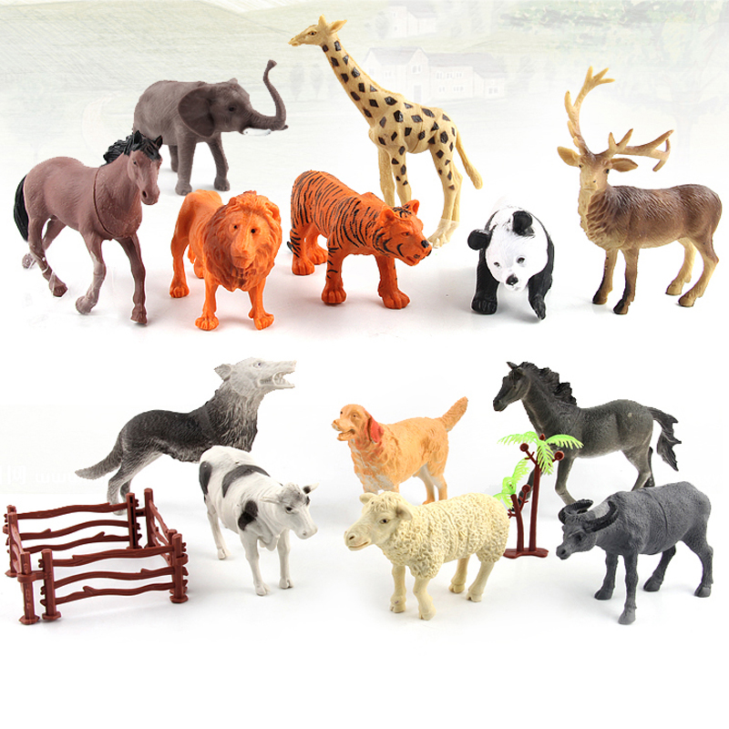 6 Styles Animal Model Sets Zoo Action Figures Horse Tiger Panda Animal Kingdom Decorations Collection Christmas Toys For Kids #E