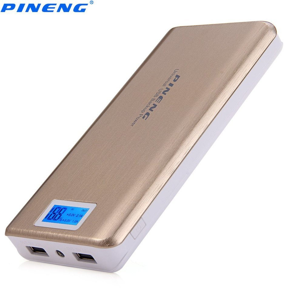 imágenes para Original PINENG PNW-999 20000 mAh 2.1A Dual USB Cargador de Batería Externo Móvil Banco Power Pack Soporte de Pantallas LCD linterna