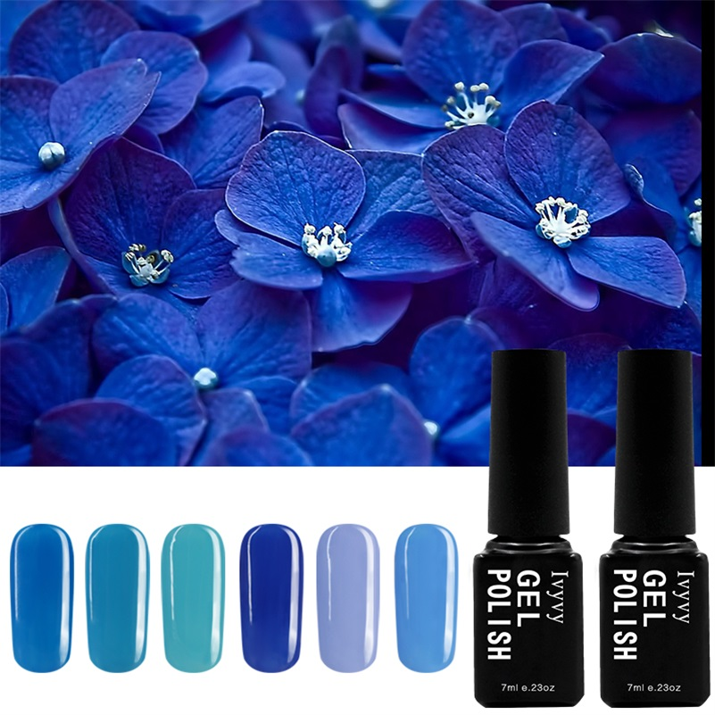 6 Colors Blue Series UV Nail Gel Polish + 1 Top Coat + 1 Base Gel Soak-off Long Lasting Nail Gel Art Hot Sale Nail Gel Lacquer 12pcs lot green series uv gel nail polish led lamp gel lacquer gel polish vernis semi permanent gel varnish nail primer base top