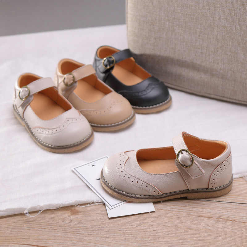 2019 Sonbahar Yeni Bebek Kız Pu deri ayakkabı Toddler Prenses Flats Çocuk Siyah Marka Ayakkabı Çocuklar Okul yumuşak ayakkabı Mary Jane