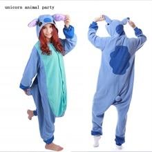Kigurumi Anime Blue Stitch Pajamas Adult Onesie Animal Rompers Womens Jumpsuit Cartoon Cosplay Costumes Pyjama Sleepsuit