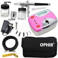 OPHIR Aerógrafo Dupla Ação Kit com Compressor De Ar & Kit De Limpeza & Bag para Decoração Do Bolo Nail Art Pintura Do Carro Modelo _ AC002 + 005