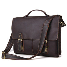 Nesitu Vintage Dark Brown Real Skin Genuine Leather 14 inch Laptop Men Briefcase Portfolio Messenger bags Shoulder bags #M7090
