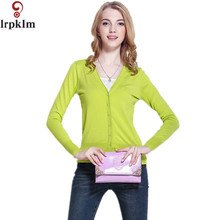 2017 Spring Autumn Wool Sweater V-neck Knit Jacket Cardigan Women Long Sleeve Pure Color Casual Crochet Blouse Tops LZ259