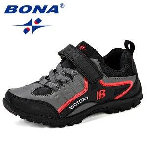 Image 1 - BONA новый дизайн, стильная детская спортивная обувь для мальчиков, Весенняя амортизирующая подошва, слипоны, лоскутные дышащие детские кроссовки, беговые кроссовки
