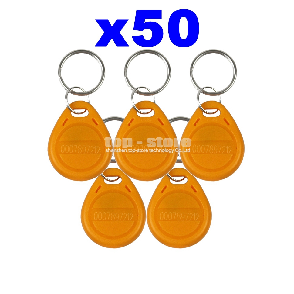 DIYSECUR 50pcs/lot For Access Control / Door Lock Use 125Khz RFID Tag Proximity ID Keyfob Key Tag Electronic Key diysecur 50pcs lot 125khz rfid card key fobs door key for access control system rfid reader use red