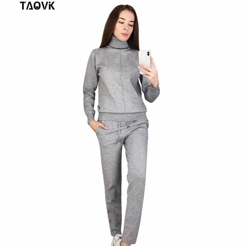 TAOVK damskie komplety z dzianiny wiosenny sweter zestaw Mid Line sweter z golfem spodnie dwa kawałki zestawy ciepłe stroje do joggingu