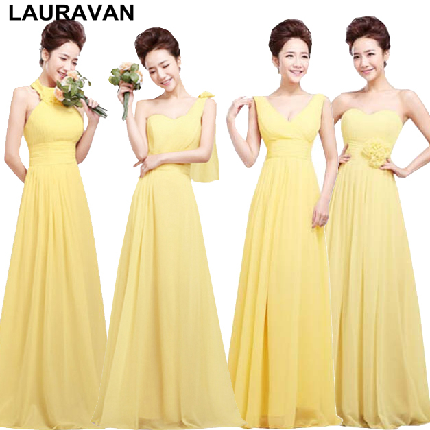 Yellow Elegant Women Bridesmaid Plus Size Dresses Chiffon A Line Long Formal Dress Sweetheart Dressed For Wedding Party