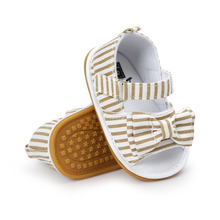 2018 New Stripe Bowtie Cute hard rubber Baby moccasins child Summer girls sandals Sneakers First walkers Infant Fabric shoes