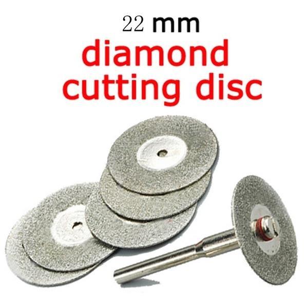 2019 5PCS 22mm Emery Diamond Cutting Blades Drill Bit+1 Mandrel For Dremel