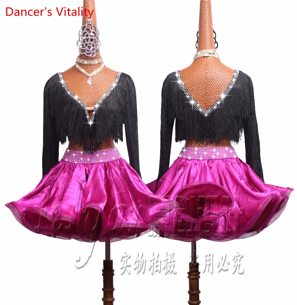 Deluxe Women Girls Latin Dance Performance Costumes Competition Clothing Lady's Child Kids Tassel Tops+Fishbone Skirt 2PCS Set