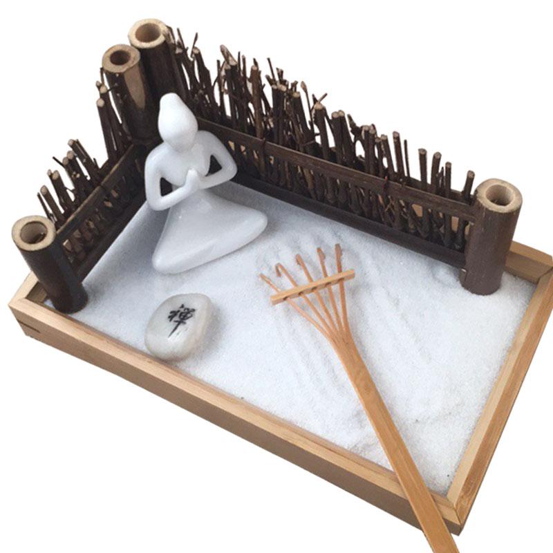 miniatura de bamb creativo zen jardn rastrillo de jardn mesa de arena buda meditacin psicolgica adornos