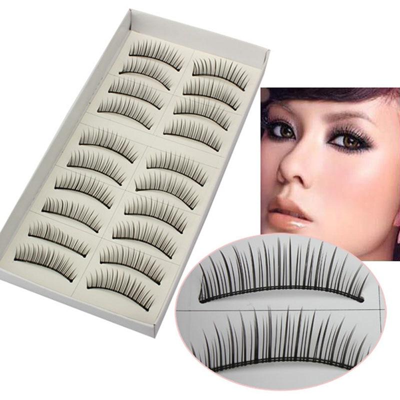 Natural Thin Neat 10 Pairs Black False Eyelashe Eye Lashes MakeUp Charming