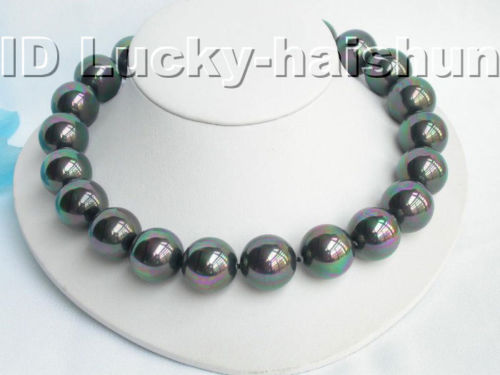 20mm round peacock black south sea shell pearl necklace j3500