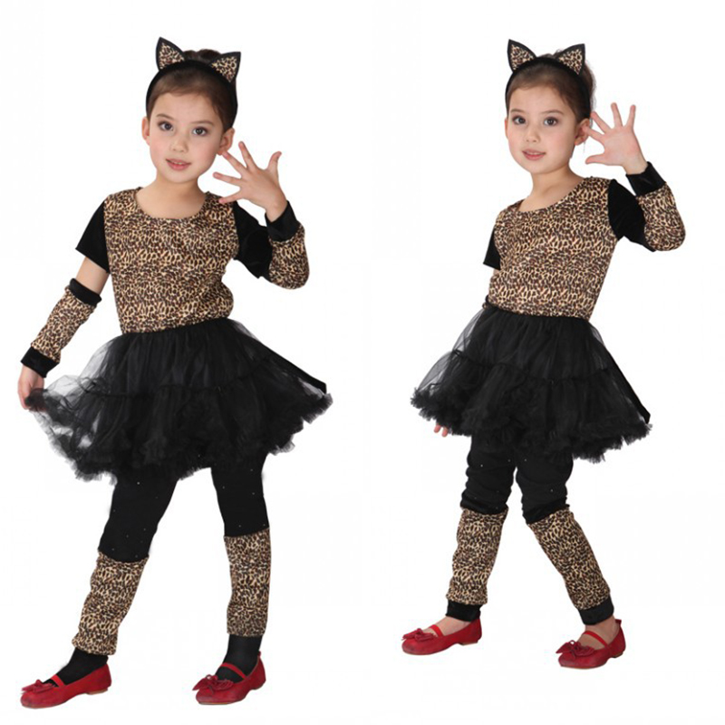 Halloween quality children's animal play suit leopard girl girl cat costume costume carnival party children's day cosplay dress