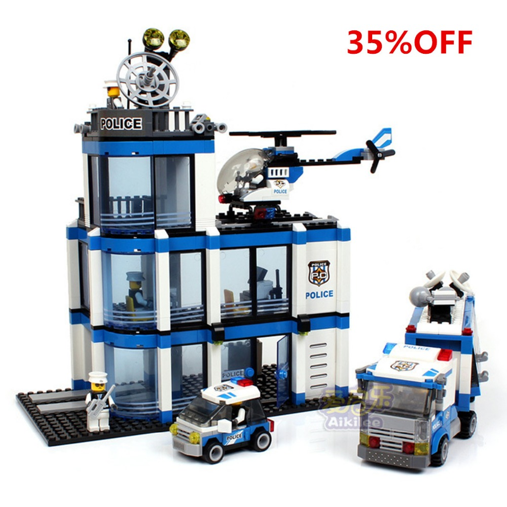 733pcs Police Station Building Blocks  Sets Model Figures Patrol Helicopter Car Vehicle Educational  Bricks Toys For Children police pl 12921jsb 02m