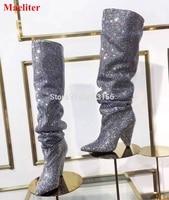 De luxe En Cristal Femmes Bout Pointu Genou Haute Bottes Sexy Chunky Talon Bottes Nouvelle Mode Bling Dames Strass Bottes