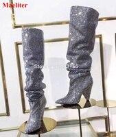 Luxo Cristal Mulheres Pointy Toe Joelho Botas De Cano Alto Sexy Calcanhar Robusto Botas Mais Nova Moda Senhoras de Bling Strass Botas