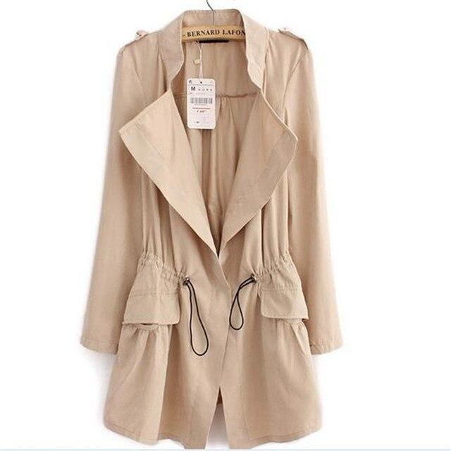 Женщины Весна офис длинную Траншею плюс размер полный рукавом шнурок Талии пальто casaco женственной повседневная уличная топы