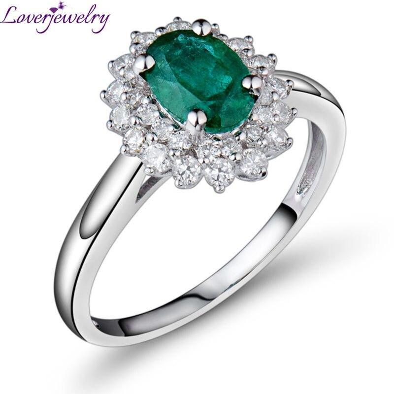 Engagement Ring - 1.40 Carat Emerald Engagement Ring,Real Diamonds Emerald Ring Au585/14K White Gold For Women BAB1401 недорго, оригинальная цена