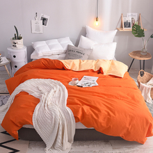 Papa&Mima Solid color Orange and apricot Duvet Cover  100% cotton king queen full twin size
