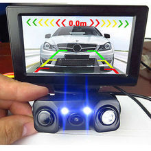 3 in 1 car Rearview Camera + 2 Sensors Car Parking Reverse Radar Sound Alarm system Backup HD LEDS Camera & Radar Sensor