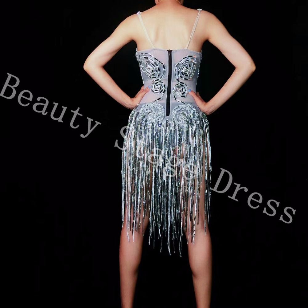 Shining Silver Crystals Fringes Bodysuit See Through Birthday Celebrate Mesh Outfit Party Dance Female Singer Show in Bodysuits from Women 39 s Clothing