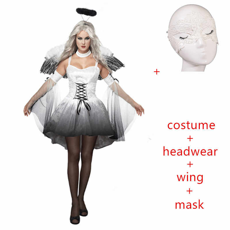 5e867887af25 ... 2019 carnival Halloween Costumes Women Cosplay dress Fantasy Party Fancy  Dress Adult White Black Angel Costume ...