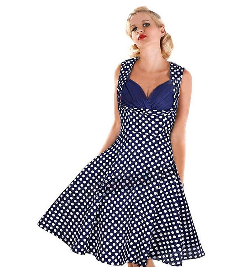 Polka Dot Turn Down Collar Women Dress Sleeveless Cocktail Swing Lace Slim Fit Women Dress Plus Size for Party and Wedding