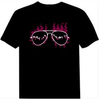Free Shipping Men T Shirt Sound Activated Disco Rave Music Concert Party Dance Flash El Led