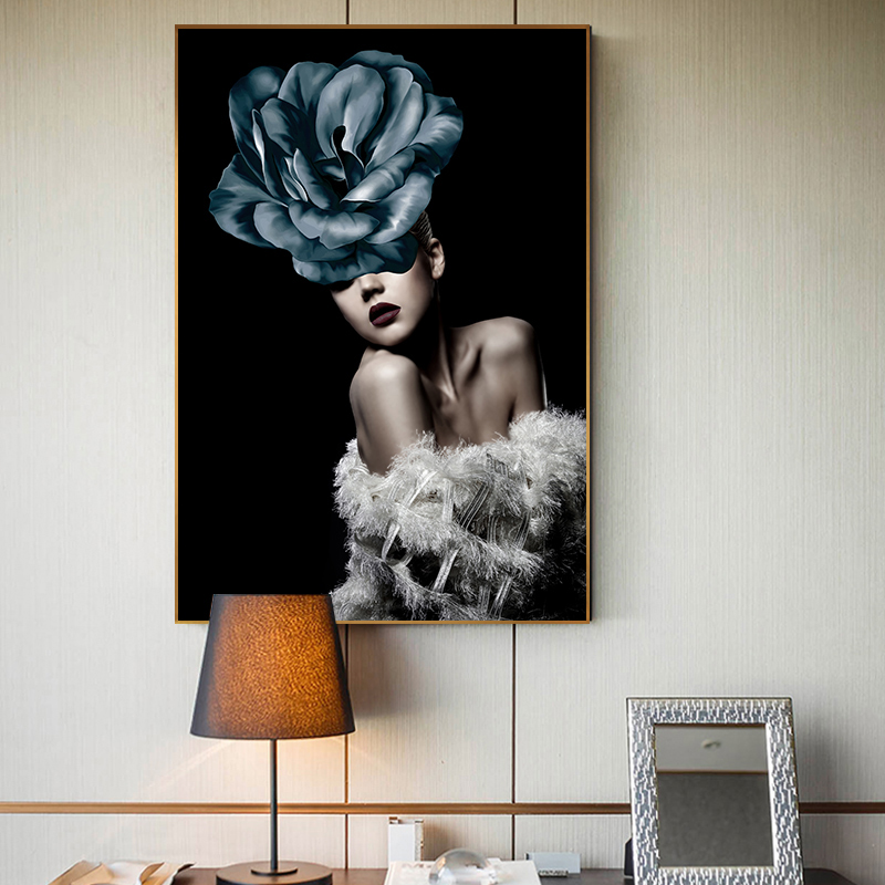 Modern Big Poster Print Wall Picture Abstract Gorgeous Flower Lady Women Beauty Canvas Painting for Living Room HD Tableau Salon