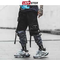 LAPPSTER Pachwork Cargo Hosen 2019 Street Hip Hop Bänder Jogger Hosen Männer Japanischen Stil Schwarz Lässig Track Hosen Fashions