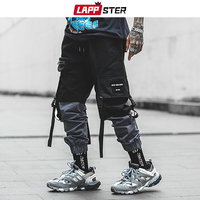 LAPPSTER Pachwork Cargo Pants 2019 Streetwear Hip Hop Ribbons Joggers Pants Men Japanese Style Black Casual Track Pants Fashions