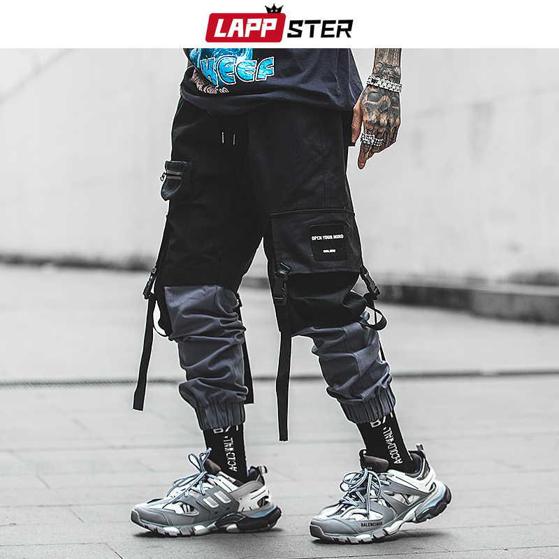 LAPPSTER Pachwork Cargo Pants 2020 Streetwear Hip Hop Ribbons Joggers Pants Men Japanese Style Black Casual Track Pants Fashions
