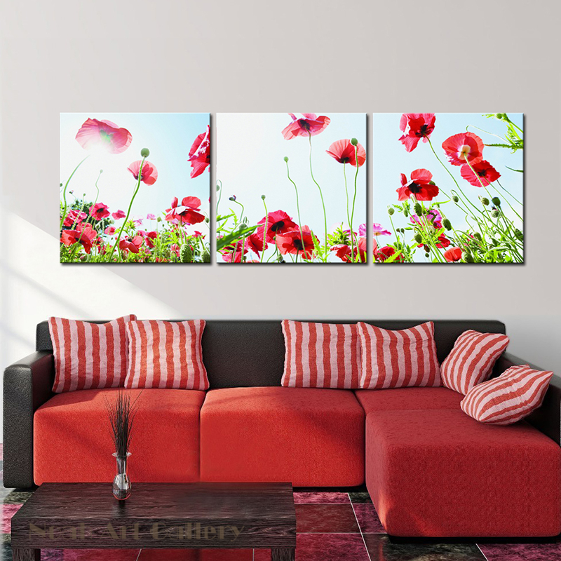 Modern Red Color Poppy Flower Paintings Art On Canvas Print On Waterproof Fabric Canvas For Home