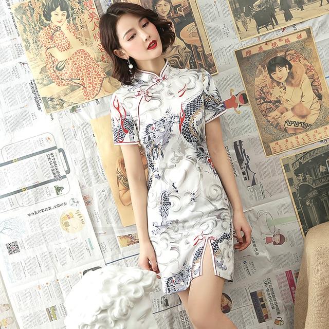 שנג קוקו לבן דרקון Cheongsam שמלות מודרני צעיר סגנון שונה גרסה Qipao יומי קצר שנחאי מזרחי סיני שמלה