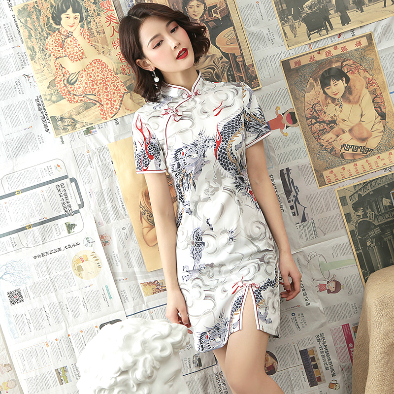 Sheng Coco White Dragon Cheongsam Dresses Modern Young Style Modified Version Qipao Daily Short Shanghai Oriental Chinese Dress